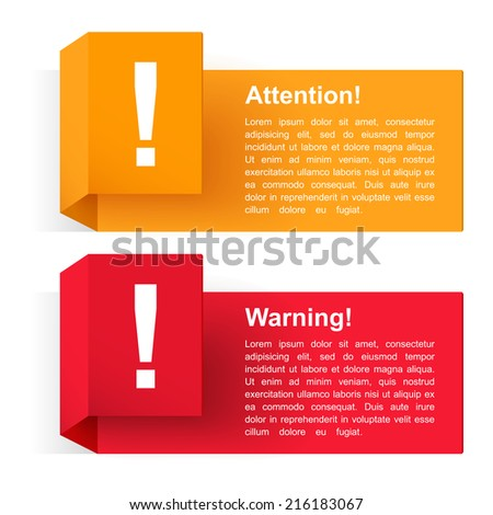 Attention and warning banners with exclamation mark, vector eps10 illustration - stock vector