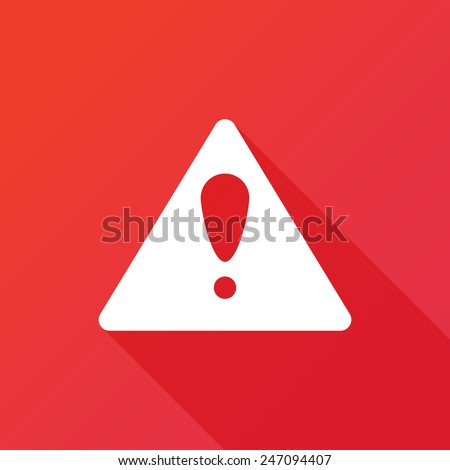Attention caution sign icon. Exclamation mark. Hazard warning symbol. Flat design button. Vector. Modern design flat style icon with long shadow effect - stock vector