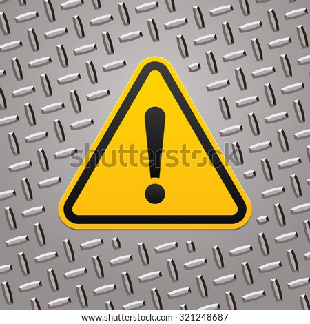 Attention sign on metal plate - stock vector