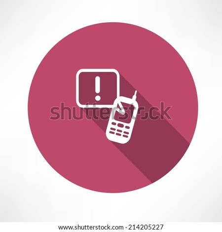 attention sign phone icon - stock vector