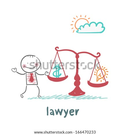attorney weighs in the balance money and the idea of - stock vector