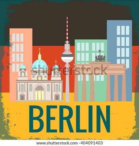 Attractions Berlin on German flag background grunge texture - stock vector