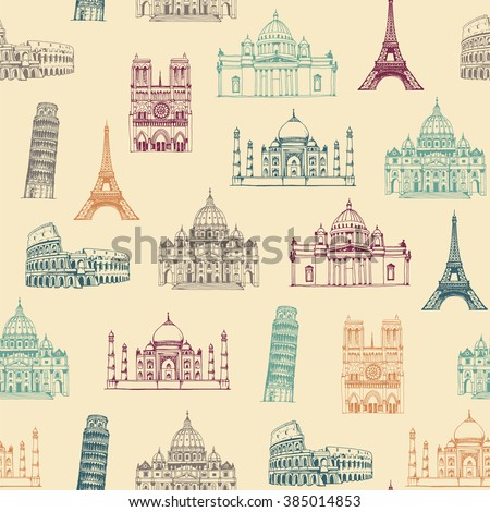 Attractions of the world seamless pattern, background with hand drawn famous landmarks of Europe and Asia - stock vector