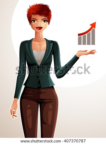 Attractive businesswoman full body portrait. Young red-haired female executive with her hand holding on waist and showing at some finance graph with growth arrow.  - stock vector