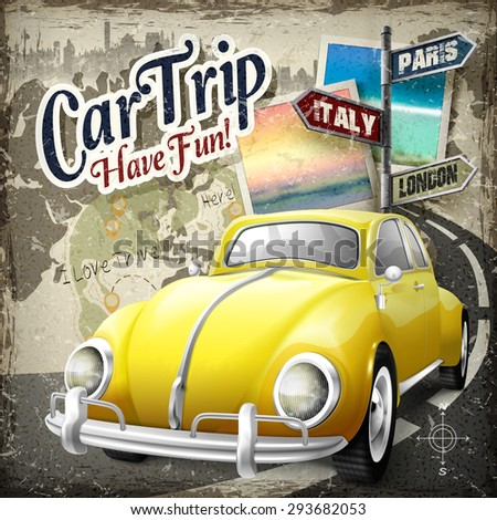 attractive car trip poster design with retro yellow car heading on the road - stock vector