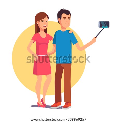 Attractive couple photographing themselves for a blog using mobile smart phone on selfie stick. Flat style vector illustration isolated on white background. - stock vector