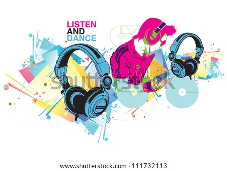 Attractive DJ playing music - stock vector