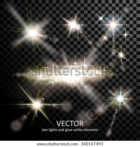 attractive light sparkles collection on transparent background - stock vector
