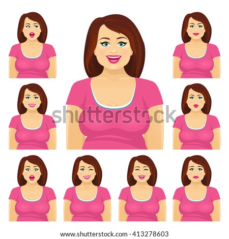 Attractive plump brunette woman with different facial expressions set. Vector cartoon character on white background. - stock vector