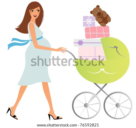 Attractive pregnant woman with a buggy shopping for baby stuff - stock vector