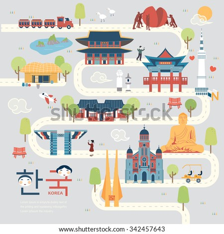 attractive South Korea travel map in flat style - Korea in Korean words on lower left - stock vector