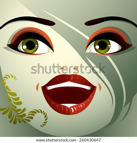 Attractive woman with stylish bright make-up. Sexy Caucasian distrustful lady. Human eyes and lips reflecting emotions, doubt. - stock vector