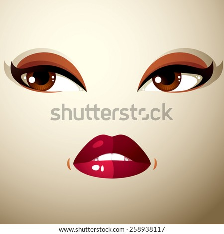 Attractive woman with stylish bright make-up. Sexy Caucasian sad lady. Human eyes and lips reflecting emotions. - stock vector