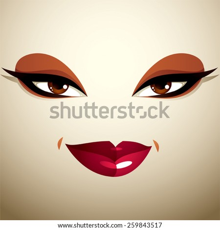 Attractive woman with stylish bright make-up. Sexy Caucasian tricky lady. Human eyes and lips reflecting emotions. - stock vector