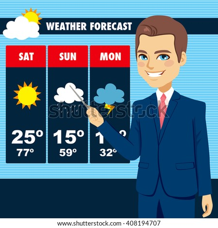 Attractive young tv news weather reporter man showing weather forecast chart - stock vector