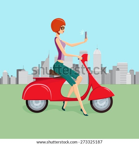 Attractive young woman on red scooter making selfie against city skyscrapers on background - stock vector