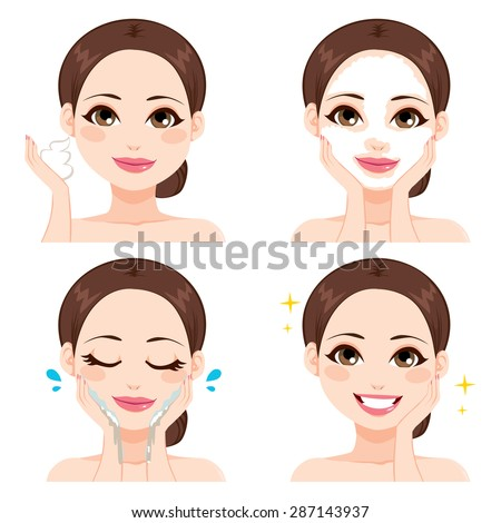 Attractive young woman showing four steps for washing face - stock vector