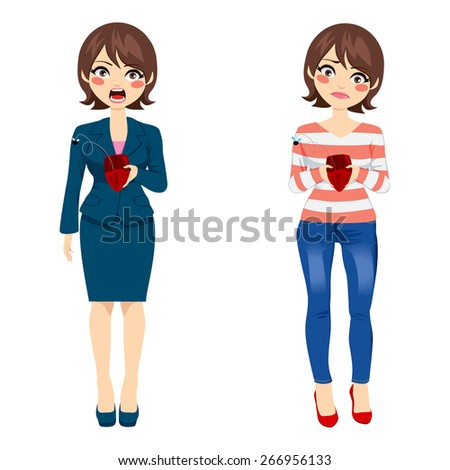 Attractive young woman with two different outfit styles showing empty purse concept - stock vector