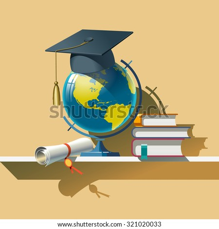 Attributes of Education. Vector composition. . Vector Illustration. - stock vector