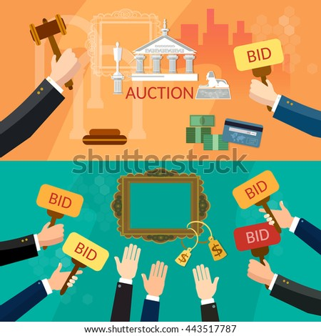 Auction and bidding banners selling antiques sale paintings art object culture auction bidding concept vector illustration - stock vector