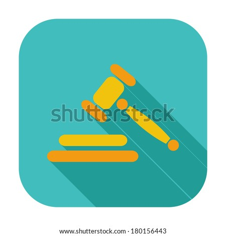 Auction gavel flat color icon. Vector illustration - stock vector