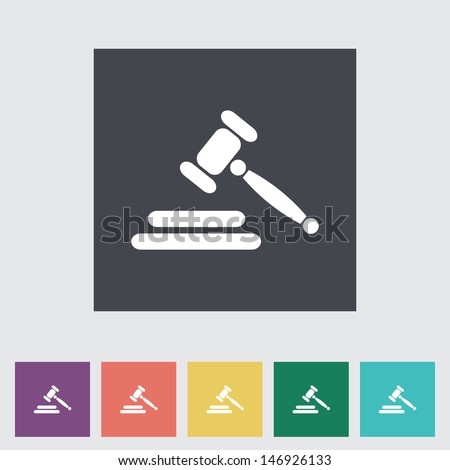Auction gavel flat icon. Vector illustration - stock vector