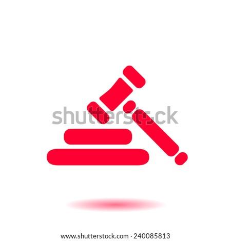 Auction hammer simbol. Law judge gavel icon. Flat design style. - stock vector