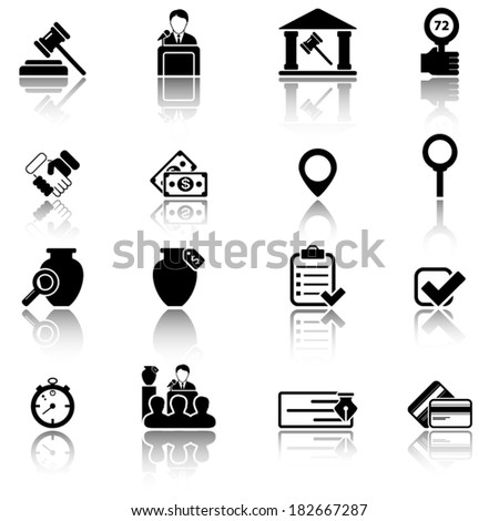 Auction icons - stock vector