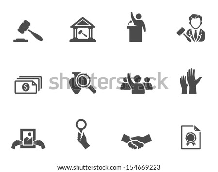 Auction icons in black & white. - stock vector