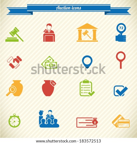 Auction icons in color - stock vector