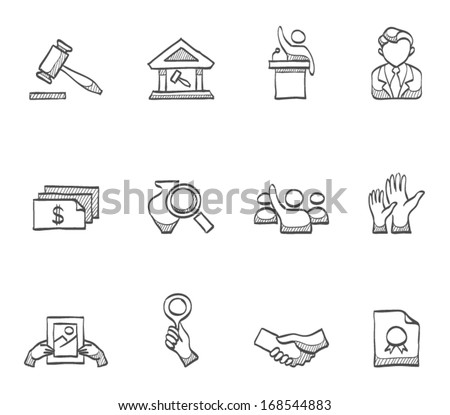 Auction icons in sketch. - stock vector