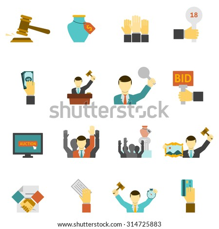 Auction icons set with hammer hands and money flat isolated vector illustration  - stock vector