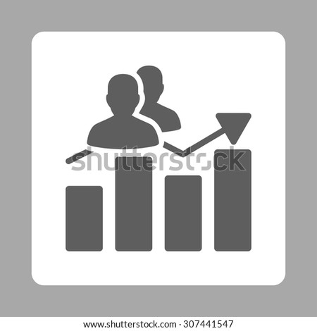 Audience Graph vector icon. This flat rounded square button uses dark gray and white colors and isolated on a silver background. - stock vector