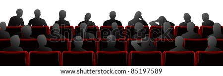 Audience sat in theatre or cinema style chairs - stock vector