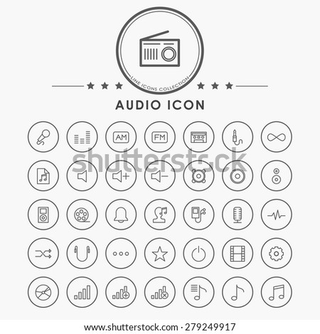 audio and music minimal line icons with circle button - stock vector