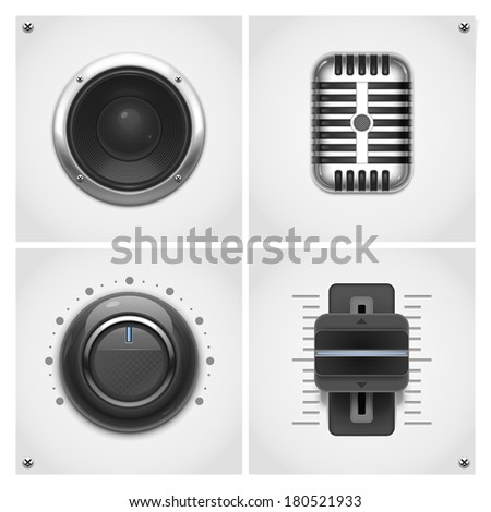 audio and music tools vector icons - stock vector