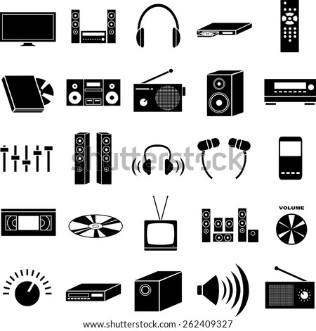 audio and video symbols set - stock vector
