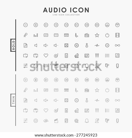 audio bold and thin line icons - stock vector