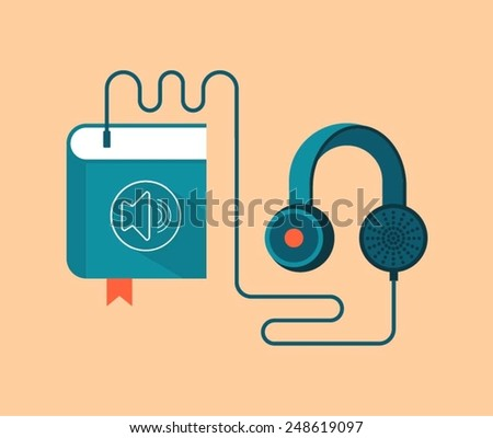 audio book concept vector illustration, book with earphones - stock vector