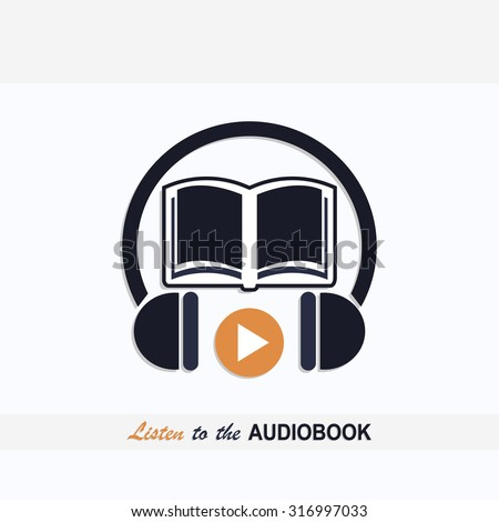 Audio book icon with book and headphones signs and text listen to the audio book dark blue color design art - stock vector