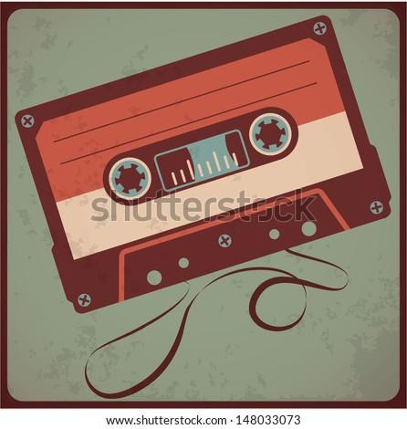 Audio cassete. Vector. - stock vector