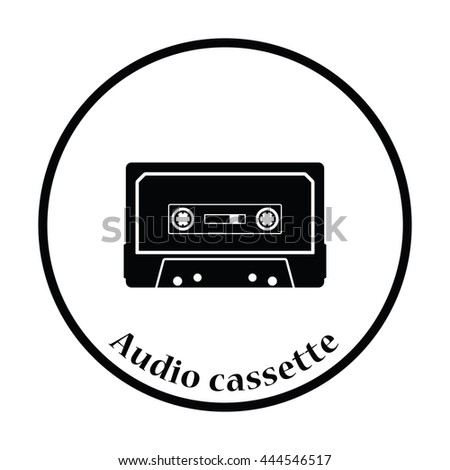 Audio cassette  icon. Thin circle design. Vector illustration. - stock vector