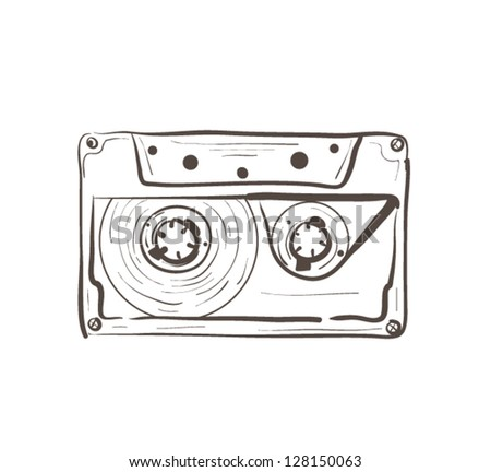Audio Cassette Outline - stock vector