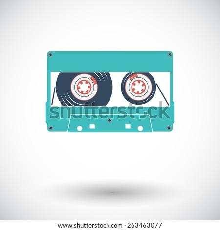 Audio cassette. Single flat icon on white background. Vector illustration. - stock vector
