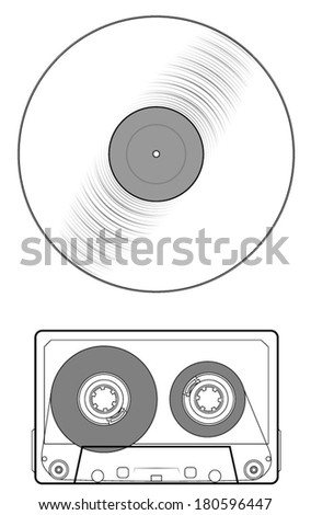 Audio cassette tape and LP record or cd compact disc icons. isolated on white background, vector art image eps10 - stock vector