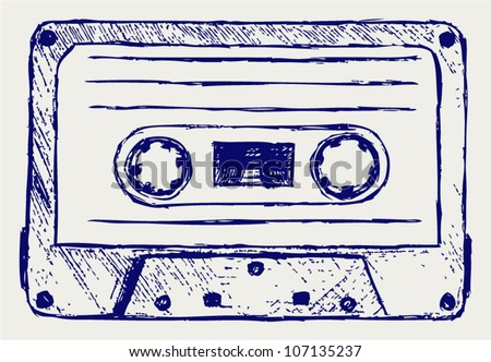 Audio cassette. Vector sketch - stock vector
