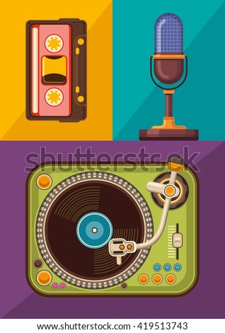 Audio devices set. Vector illustration. - stock vector