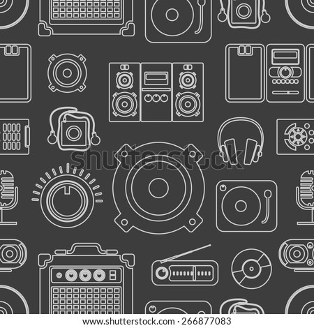 Audio equipment icons collection - stock vector