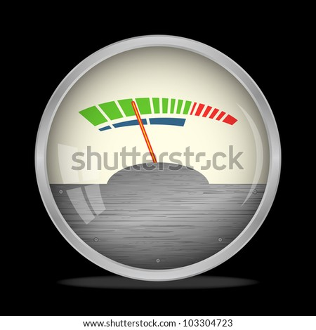 Audio Gauge, VU Meter on black, vector, 10eps. - stock vector