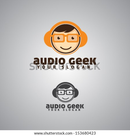 Audio Geek Mascot Illustration Vector - stock vector